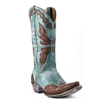 Old Gringo Womens Aqua & Brass Monarca Butterfly Cowgirl Boots