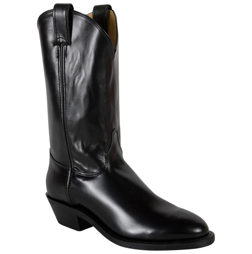 Justin Mens Black Melo Veal Calfskin Round Toe Boot