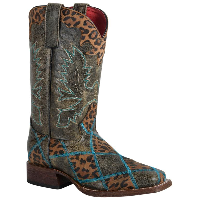 Macie Bean Leopard Print Black Crack Western Boots