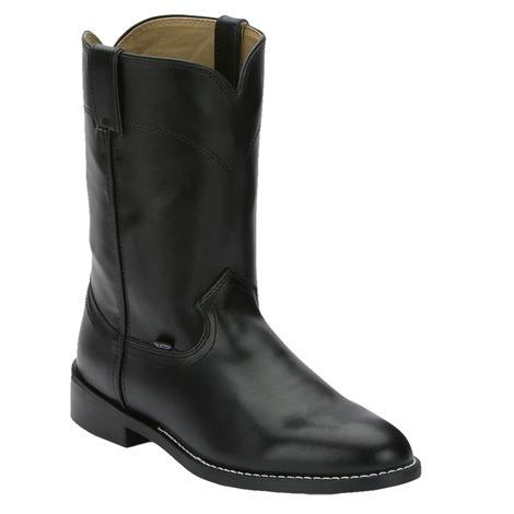 Justin Mens Classic Black Leather Roper Cowboy Boots