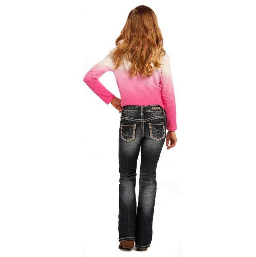 Rock & Roll Cowgirl Girls Dark Vintage Boot Cut Jeans