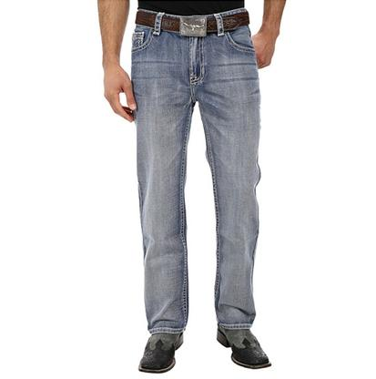 Rock & Roll Cowboy Mens Relaxed Fit Double Barrel Abstract Straight Leg