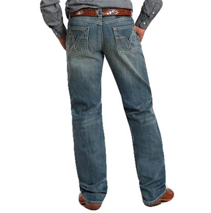 Rock & Roll Cowboy Mens Tuff Cooper Straight Leg Jeans - Medium Wash