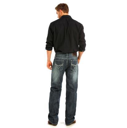 Rock & Roll Cowboy Mens Dark Wash Straight Leg Jeans