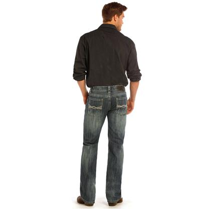 Rock & Roll Cowboy Mens Pistol Straight Leg Dark Wash Jeans