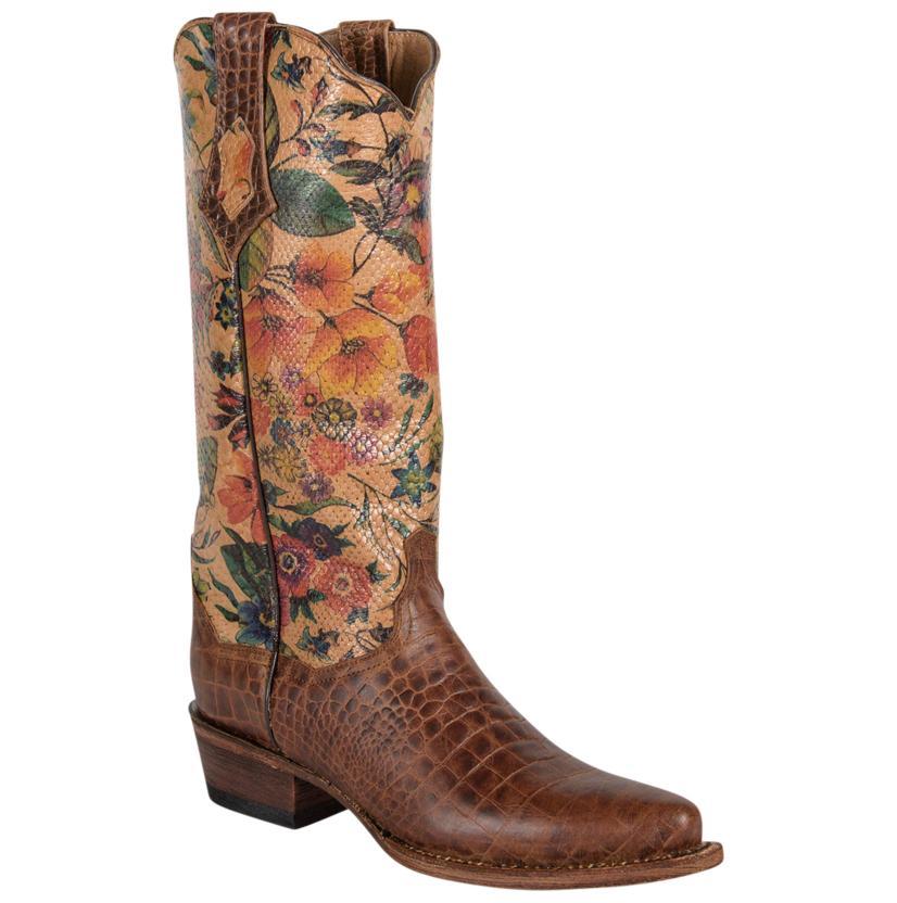 Ferrini Womens Vintage Floral Design Gator Print Boots