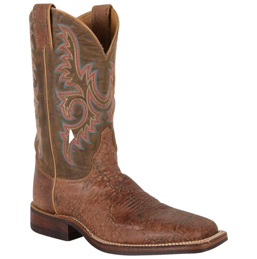 Justin Mens Bent Rail Old Map Chocolate Dawny Square Toe Boots