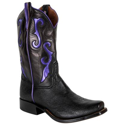 Rios of Mecedes Black Calf and Ostrich Western Boots