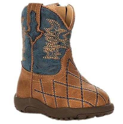 Roper Western Cross Cut Girls Infant Tan Boots