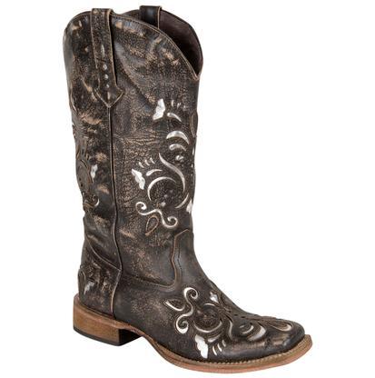 Roper Western Boots Womens Metallic Underlay Tan