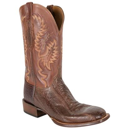 LuccheseOstrich Leg Leather Western Cowboy Boots
