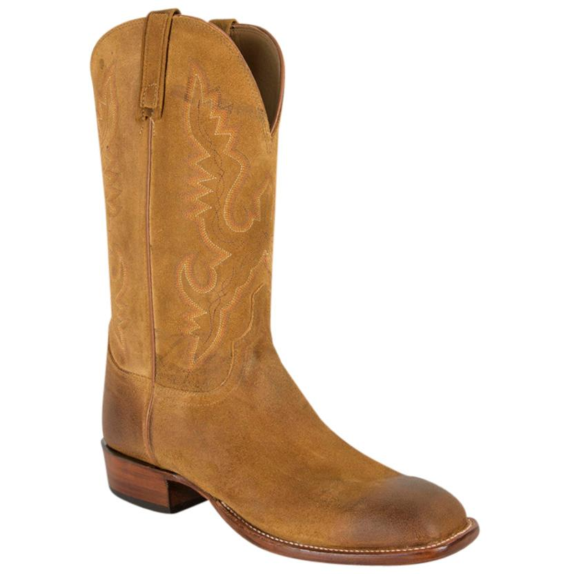 Lucchese Sand Burnished Comanche Leather Western Boots