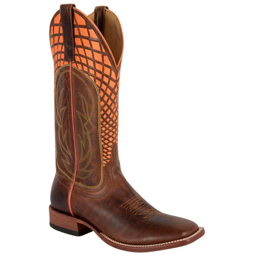 Horse Power Men's Neon Stitched Brown Cowboy Boots