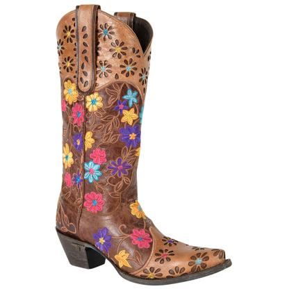 Lane Daisy Queen Distressed Brown Cowgirl Boots
