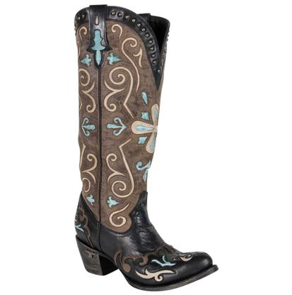 Lane Clover Girl Black & Brown Turq Western Cowgirl Boots