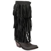 Liberty Black Ladies Brown 3 Tier Fringe Boot