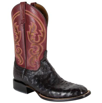 Lucchese Black Ostrich Color Top Boot