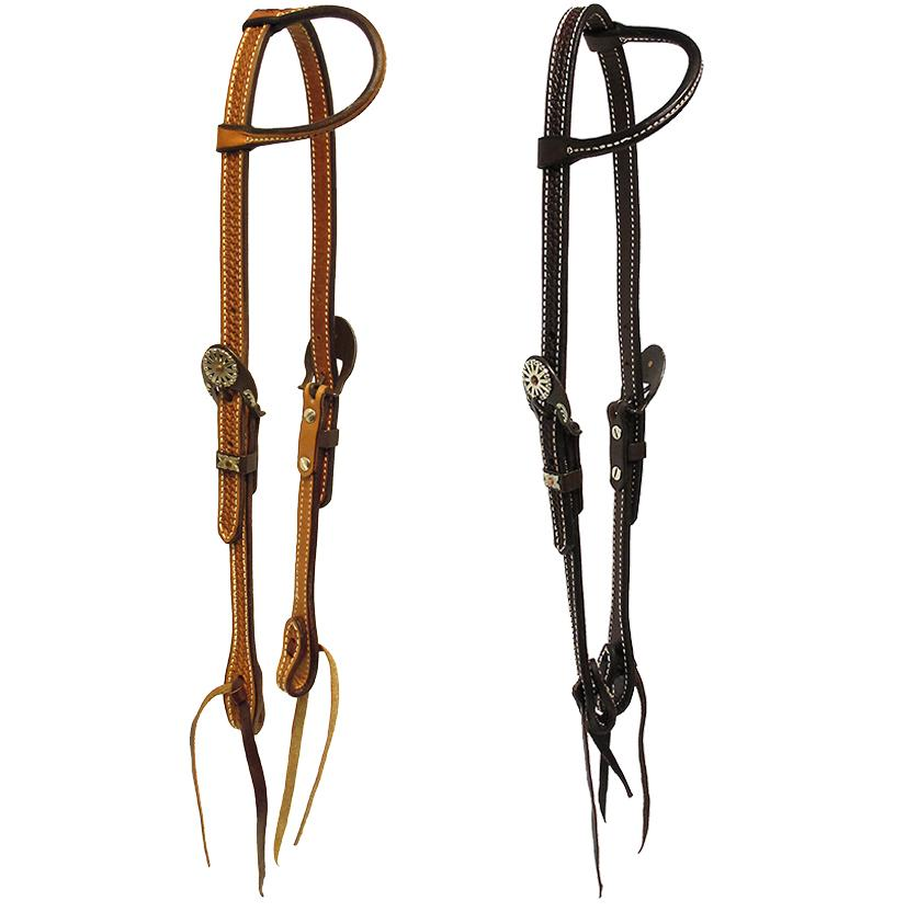 Slide Ear Headstall Basket Weave Tooled and Double Buckle