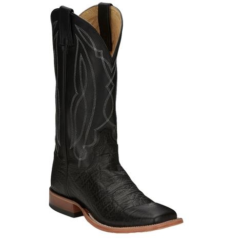 Tony Lama Mens Flat Black Tide Boots