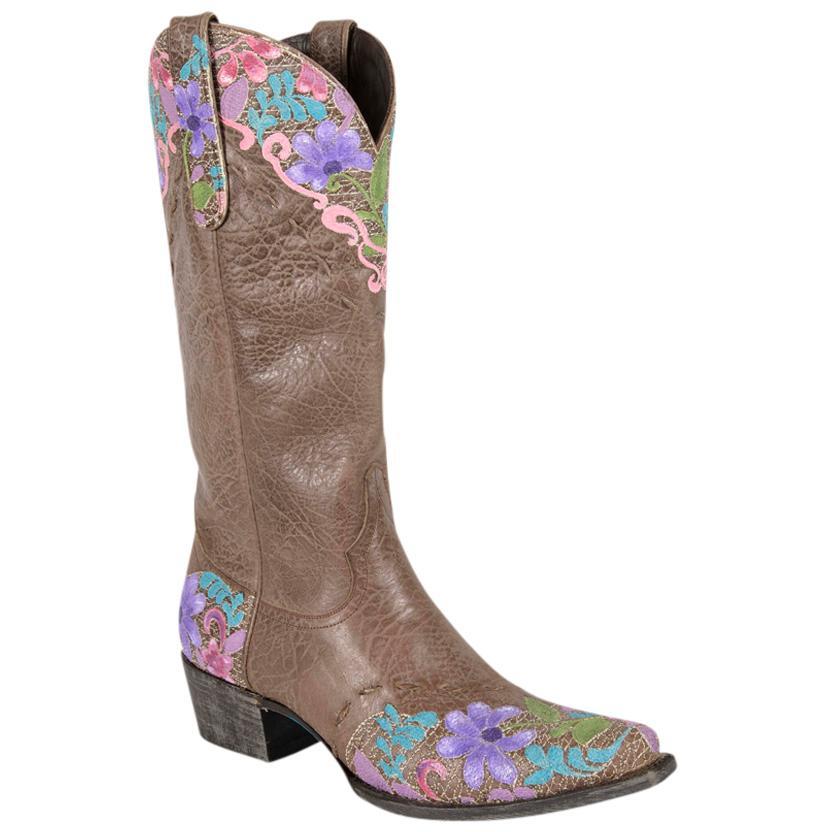 Lane Womens Custom Painted Jeni Lace Brown Boots