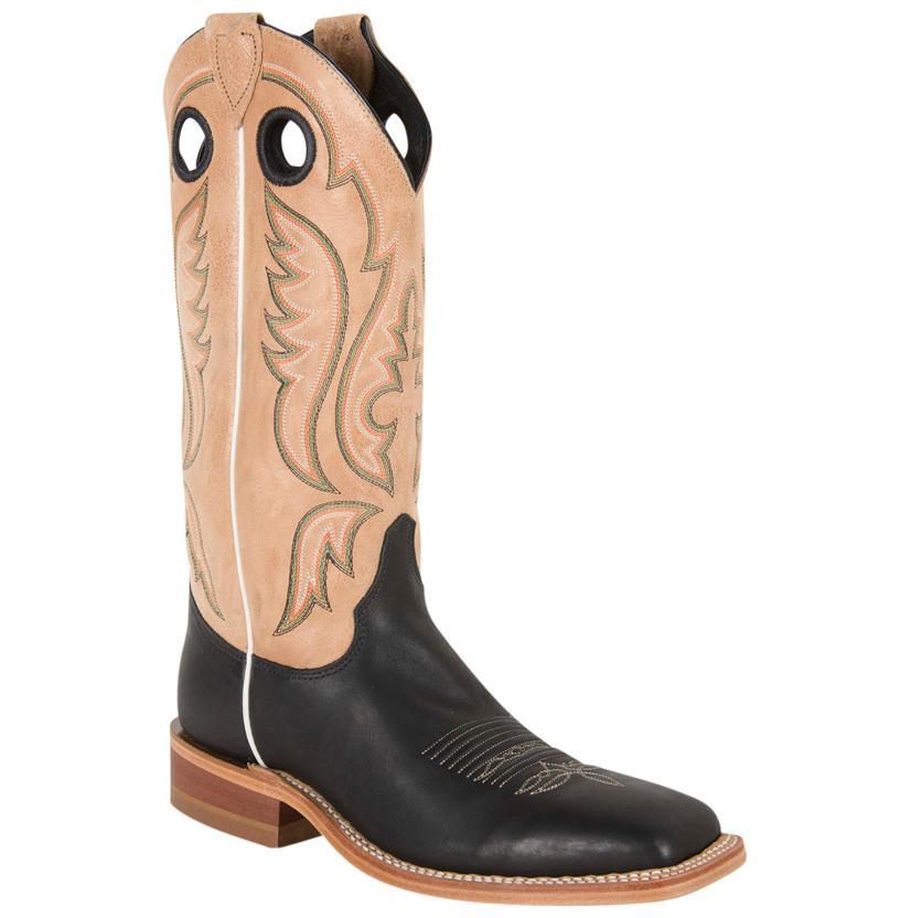 Justin Men's Bent Rail Black Burnished Calf Square Toe Boots