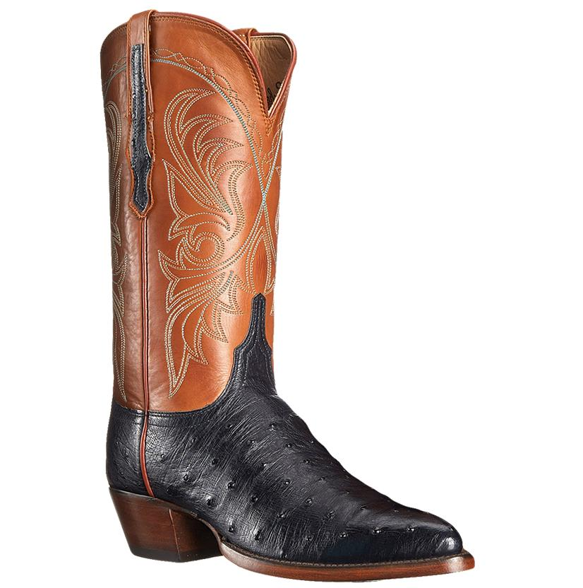 Lucchese Women's Navy Cognac Fq Ostrich Leather Western Boots