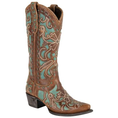 Lane Womens Robin Caramel Tan Turquoise Western Boots