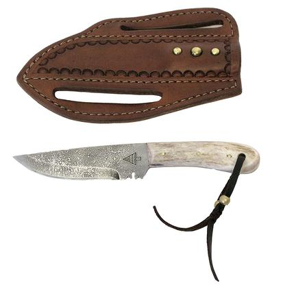 High Country 4 Fixed Blade Knife with Tooled Leather Sheath