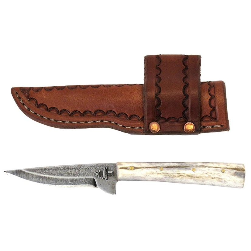 Shark Tooth 5 Fixed Blade Knife with Tooled Leather Sheath