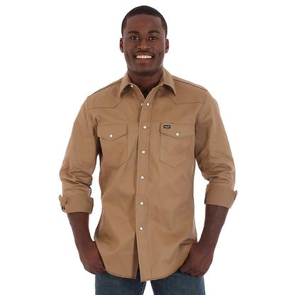 Wrangler Mens Light Brown Twill Long Sleeve Western Shirt - (Extended Size)
