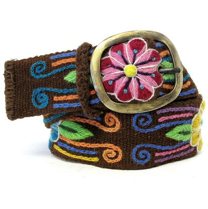 Panqara Hand Embroidered Swirl Floral Belt