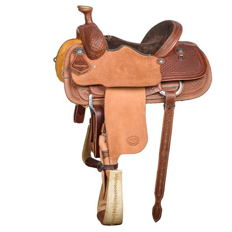 STT Youth Roping Saddle 1/2 Waffle Tooled