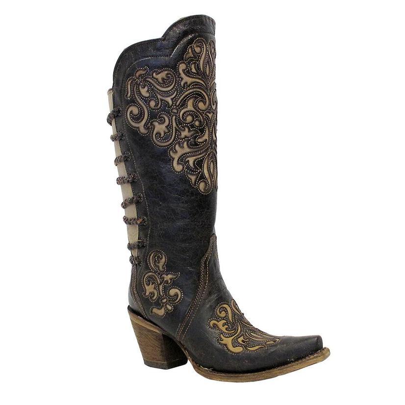 Corral Womens Black Bone Snip Toe Fashion Boots