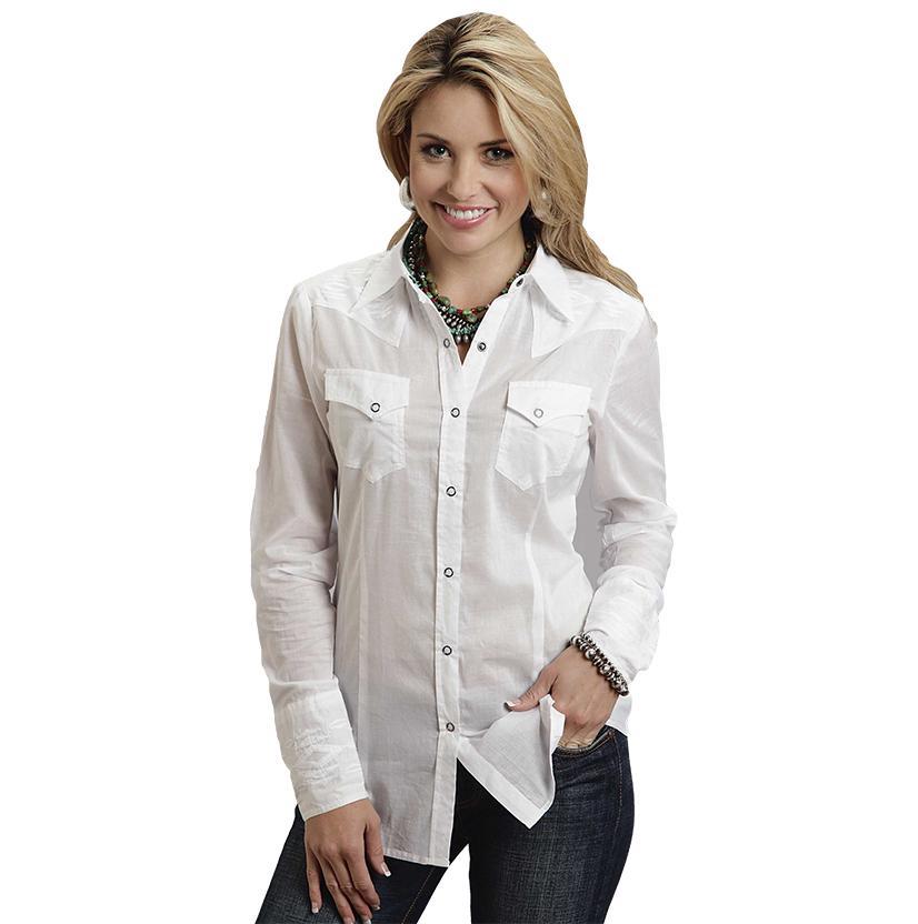 Stetson Womens Long Sleeve Button White Western Shirt