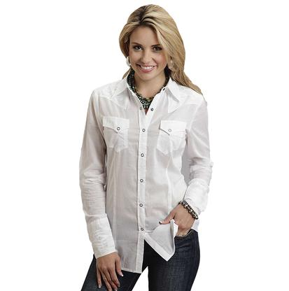 Stetson Womens Long Sleeve Button White Western Shirt