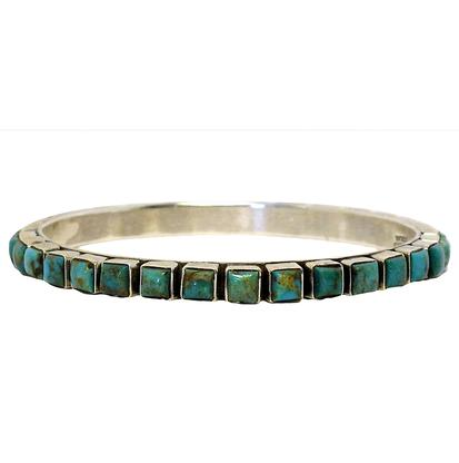 STT Silver Bangle with Square Turquoise Stones