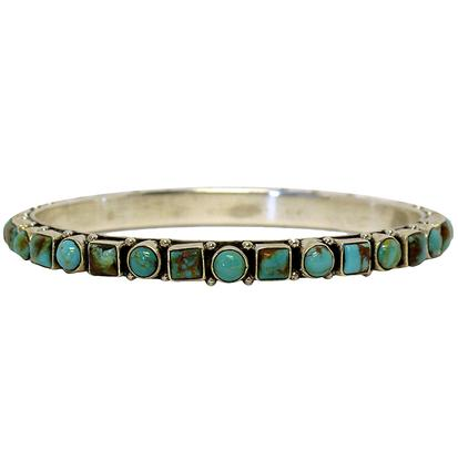 Silver Bangle w/Square & Round Turquoise Stones