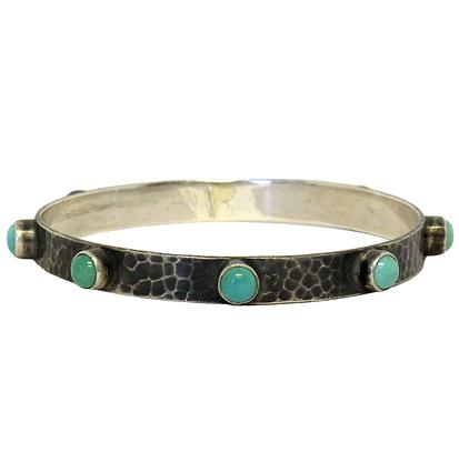 Hammered Bangle with Turquoise Stones