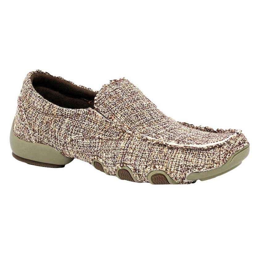 Roper Taupe Chevron Driving Moccasin