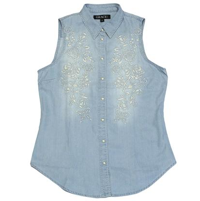 Grace In LA Womens Blue Denim Snap Top with White Embroidery