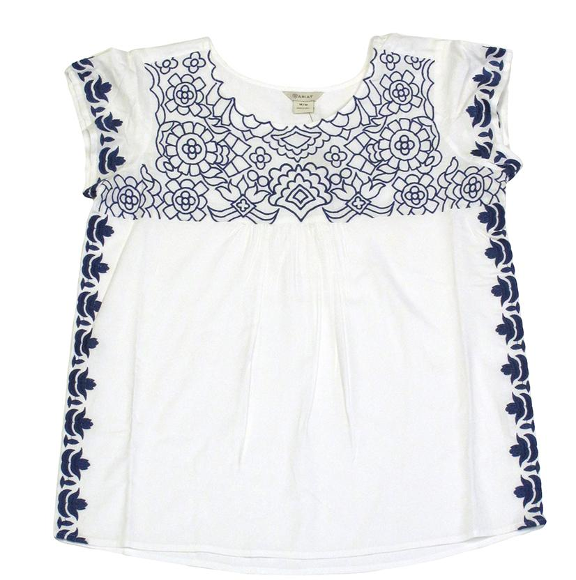 Ariat Women's Cream W/Navy Floral Embroidered Top