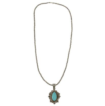 Turquoise & Co Navajo Pearl Oval Turquoise Pendant Necklace