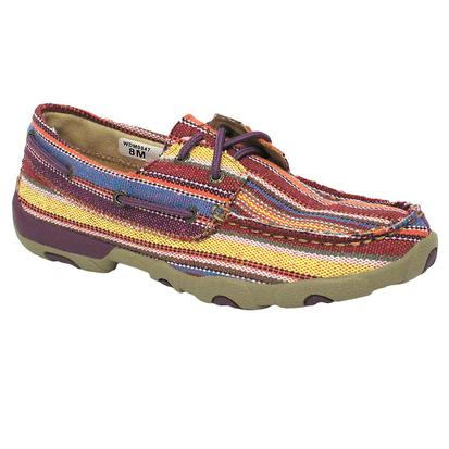 Twisted X Casual Purple Multi Canvas Women's Driving Moc