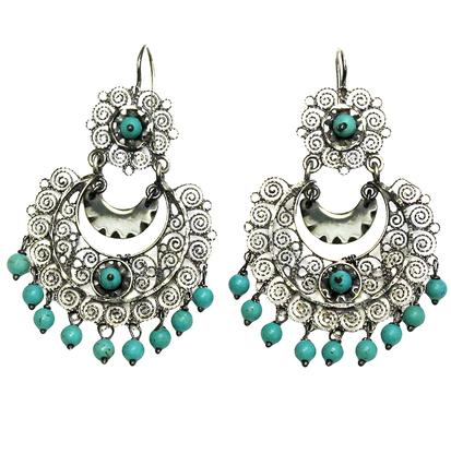 Turquoise & Co Mexican Engraved Earrings