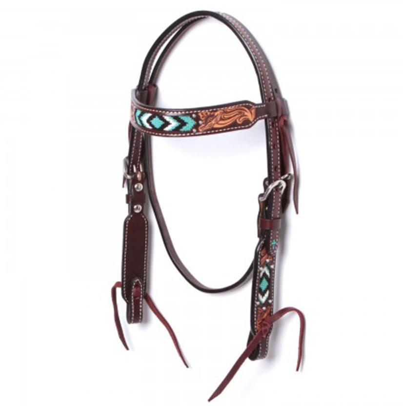 Weaver Leather Pony Browband Turquoise Beaded Headstall