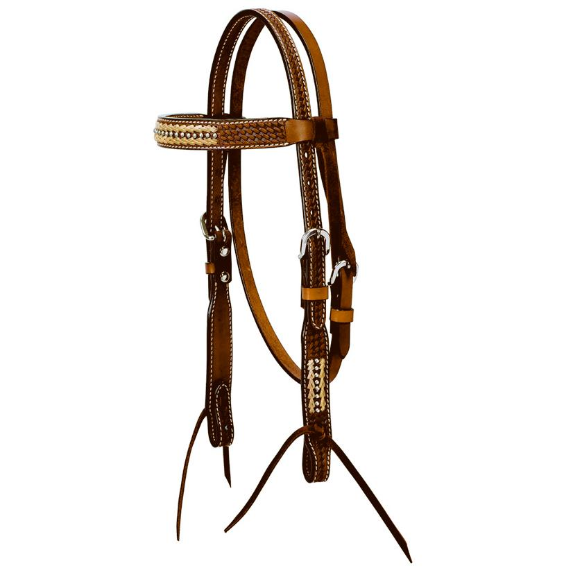 Pony Browband Basket Weave with Rawhide