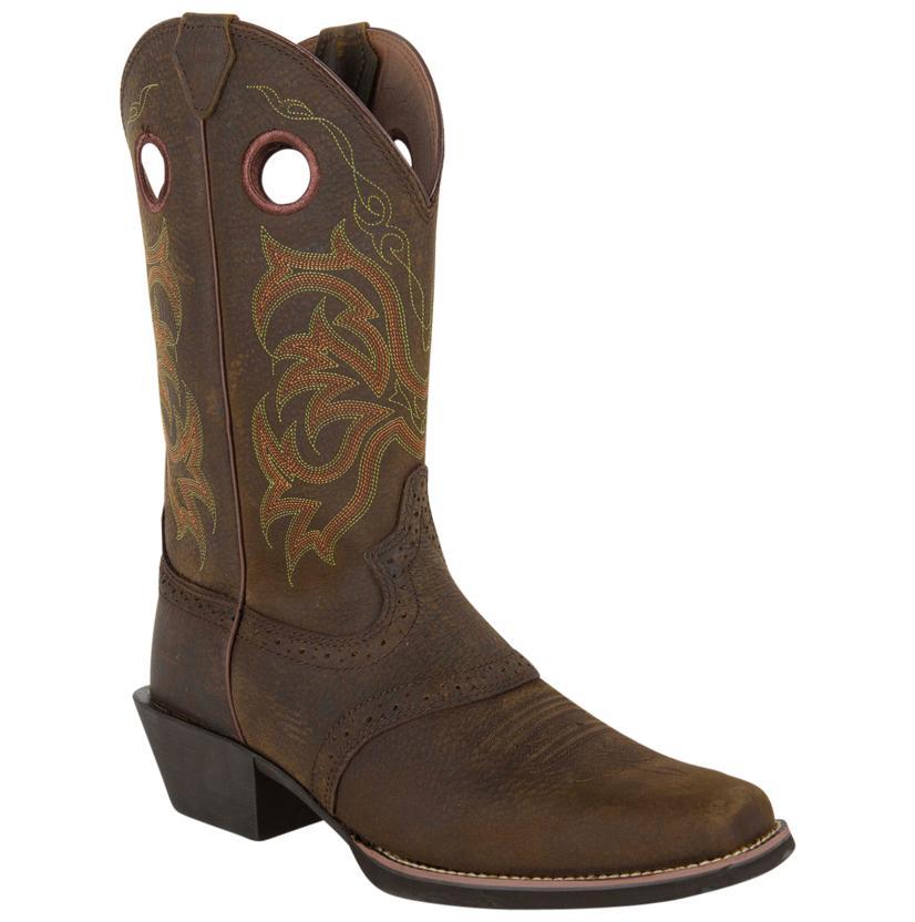 Justin Mens Stampede Dark Brown Wide Square Toe Boot