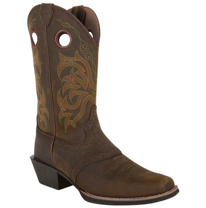 Justin Stampede Men's Dark Brown Wide Square Toe Boot