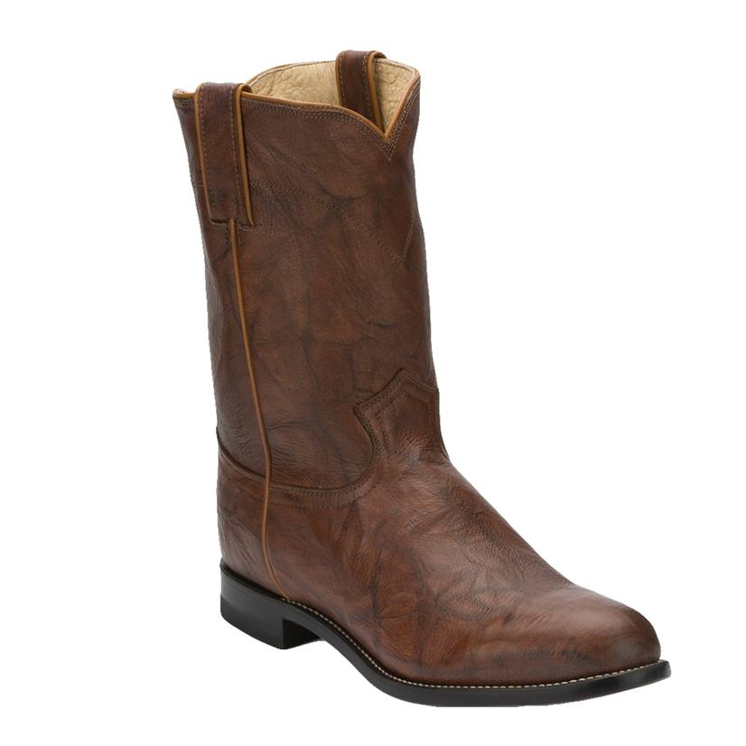 Justin Men's Roper Chestnut Marbled Deerlite Round Toe Boot