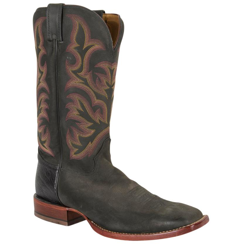 Justin Men's Black Worn Saddle Square Toe Cowboy Boots